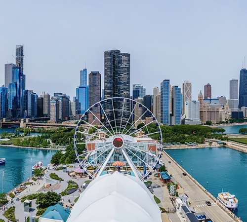 Navy Pier reopening stock image